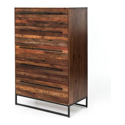 Four Hands - Emily Dresser - Your bedroom will be dressed for success with this striking dresser. Strips of sustainably harvested and reclaimed woods are stacked on the drawers and finished to let the natural beauty of the wood shine through. And the black metal base and sleek pulls are like perfectly coordinated jewelry.