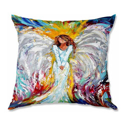 DiaNoche Designs - Pillow Woven Poplin - Karen Tarlton Angel Watching Over Me - Toss this decorative pillow on any bed, sofa or chair, and add personality to your chic and stylish decor. Lay your head against your new art and relax! Made of woven Poly-Poplin.  Includes a cushy supportive pillow insert, zipped inside. Dye Sublimation printing adheres the ink to the material for long life and durability. Double Sided Print, Machine Washable, Product may vary slightly from image.