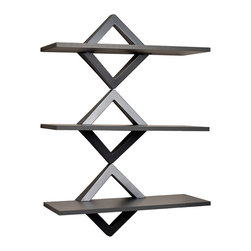 Danya B - Diamonds Three Level Shelving System - This excitingly modern wall shelf unit is like a piece of art  that will add storage space to your walls while creating a distinctive designer look. Made of durable ABS, its decorative diamond shaped brackets in gunpowder gray finish hold three melamine shelves in the same color. Packed in an attractive color box with all hardware and instructions included, this system is easy to assemble and will add style to any room in your home or office.