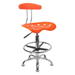 """Flash Furniture - Vibrant Orange and Chrome Drafting Stool with Tractor Seat - Quality chair at an amazingly affordable price! This sleek, modern stool conforms to several areas in the home or office. The molded tractor seat offers great comfort. The height adjustable capability of this stool allows you to use the stool at the dining table and bar table and anywhere in between.; Tractor Stool; Orange Molded """"Tractor"""" Seat; High Density Polymer Construction; 10"""" Height Range Adjustment; Pneumatic Seat Height Adjustment; Height Adjustable Chrome Foot Ring; Chrome Frame and Base; Black Plastic Floor Glides; Assembly Required: Yes; Country of Origin: China; Warranty: 2 Years; Weight: 19 lbs; Dimensions: 32 - 40.5""""H x 17""""W x 16.5""""D"""