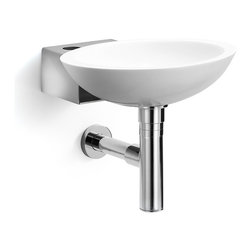 WS Bath Collections - Ciuci Stainless Steel Wall Sink - Ciuci 6622.29 Wall-Mount Bathroom Sink in White/stainless steel, Wall-Mount Installation, Made in Italy