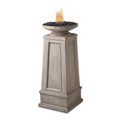 "Real Flame - Corsica Propane Fire Column - The Corsica Fire Column features an elegantly styled bowl atop a tapered pillar with beautiful recessed paneling and finely detailed molding. This Vent less Fireplace Fuel version features a refillable stainless steel burn-cup, decorative lava rock and protective vinyl cover. Use only with Real Flame Vent less Fireplace Fuel. SEVERE BURN HAZARD IF USED WITH ANY OTHER FUEL.-Uses Real Flame Vent less Fireplace Fuel emitting up to 3,000 BTUs of heat per hour lasting up to 2 hours-Cast from painted fiber-concrete and steel-Includes: Fire column, decorative black lava rock, refillable stainless steel burn cup, and protective storage cover-90 day limited warranty-Minimal assembly required-Dimensions: 15"" W x 15"" L x 34"" H; 43lb."
