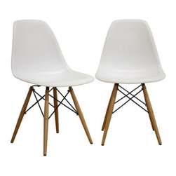 """2 Wood Eiffel Side Chairs, White - One of our most popular accent chairs now comes in wood base too! Its Eiffel shape is reminiscent of the original. The eiffel base chair has an """"Eiffel Tower"""" style wood base and plastic shell seat. The retro simplicity of these classic accent chairs will instantly enhance the modernity of your room. Each of these contemporary accent chairs is made from durable molded plastic with an ergonomically-shaped and curved seat. The legs are wooden and include steel hardware in black as well as plastic tips to protect sensitive flooring."""