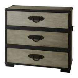 """Steve Silver Furniture - Steve Silver Rowan Chest in Weathered Gray - The  evokes the nostalgic romance of golden-age steam travel, with classic metal fixtures and leather accents. The Rowan chest stands 33"""" high, with a 35"""" x 18"""" top  and three spacious storage drawers. This attractive-Piece complements the Rowan End table and trunk."""