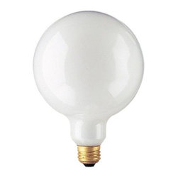 Bulbrite - 5 in. Globe Dimmable Light Bulbs in White - 1 - Choose Wattage: 40wOne pack of 12 Bulbs. G40 incandescent type bulb. E26 medium base bulb. EISA compliant. Voltage: 130 V. Average hours: 3000. Color rendering index: 100. Beam spread: 360 degree. Color temperature: 2700K. Ideal for use in vanity, pendants and down lights. 25 watt lumens: 160. 40 watt lumens: 335. 60 watt lumens: 535. 100 watt lumens: 950. 150 watt lumens: 1655. 5 in. Dia. x 6.75 in. H