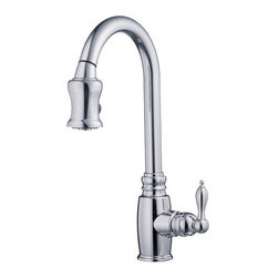 """Danze - Danze D454557 Chrome Opulence Pull Down Spray Kitchen Faucet From the - Product Features:Faucet body and handles feature all-brass constructionFully covered under Danze's limited lifetime faucet warrantyHigh-quality finishing process – finish covered under lifetime warrantyKitchen faucets from Danze are designed to not only function flawlessly, but nourish the eyeSmooth single handle operationPull down spray faucet head with quiet function hose enhances faucet versatility Optional escutcheon (cover plate) included – for sinks with 3 pre-drilled faucet holesADA compliant handleLow lead compliant – meeting federal and state guidelines for lead contentAll hardware required for faucet installation is includedProduct Technologies and Benefits:Drip-Free Ceramic Disc Valves: By making these components standard across all of their kitchen faucets, Danze has made leaking and rough operating faucets a thing of the past. These valves provide a lifetime of smooth handle control, and Product Specifications:Overall Height: 16-7/8"""" (measured from mounting deck to highest point on faucet)Spout Height: 9-15/16"""" (measured from mounting deck to spout outlet)Spout Reach: 7-15/16"""" (measured from center of faucet body to center of spout outlet)Faucet Holes: 1 (number of holes required for faucet installation)Flow Rate: 2.5 gallons-per-minute1 handle included with faucetMaximum Deck Thickness: 2"""" (cannot mount on decks thicker without extension kit)Designed for use with standard U.S. plumbing supply bibs"""