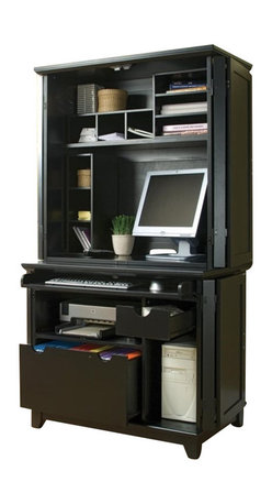 Home Styles - Home Styles Arts and Crafts Compact Desk and Hutch in Black Finish - Home Styles - Computer Desks - 5181190 - Home Styles Arts and Crafts Mission Style Computer Cabinet is constructed of hardwood solids and engineered woods in a rich black finish. Cabinet features include file drawer that accommodates letter or legal size files (drawer measures 21.25w 18.5d 10h), keyboard with ball bearing drawer guides that fully extend (keyboard measures 32w 15d 1.75h), accommodates printer (shelf measures 23.25w 20.75d 8.25h), CPU compartment measures 9.75w 21d 18.5h, small storage drawer measures 7.75w 14.5d 2.25h, opening below the small drawer includes a small adjustable shelf, and doors fit flush against unit when open. Item Size: 38.5w 32d 23.75h d.Compact Hutch features three wire management holes, Two Small three slotted pigeon hole organizers that measure 6.25w 9.75d 20.5h, Three slot letter organizer-slots measure 13.25w 11.75d 12.5h, one fix shelf that measures 34w 12d 14h, letter organizers can be turned any different directions to fit your office needs, and overall opening is 34w 16.75d 35.5h. Item Size: 38w 19.75d 38h. Overall Size 38w 32d 61.75H.