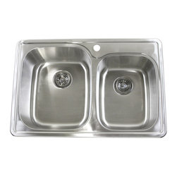 "Ariel - 33 Inch Top-Mount / Drop-In Stainless Steel Double Bowl Kitchen Sink - 18 Gauge - Made from durable 18 gauge stainless steel, this dual basin sink comes with 1 pre-drilled faucet hole. Pair with a matching stainless steel faucet of your choice. Dimensions: 33"" x 22"" x 9"" / 7""."