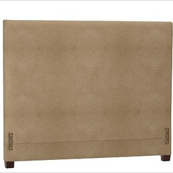 """Raleigh Square Headboard, Full, everydaysuede(TM) Light Wheat - Simple lines and softly rounded corners distinguish the profile of our Raleigh Square Bed & Headboard, crafted by our own master upholsterers in the heart of North Carolina. Crafted with a kiln-dried hardwood frame. Headboard, foot rail and side rails are thickly padded and tightly upholstered with your choice of fabric. Exposed block feet have a hand-applied espresso finish Headboard also available separately. The headboard-only option is guaranteed to fit with our PB metal bedframe using the headboard hardware. This item can also be customized with your choice of over {{link path='pages/popups/fab_leather_popup.html' class='popup' width='720' height='800'}}80 custom fabrics and colors{{/link}}. For details and pricing on custom fabrics, please call us at 1.800.840.3658 or click Live Help. Crafted in the USA. Full: 57.5"""" wide x 83.5"""" long x 53.5"""" high Queen: 64.5"""" wide x 88.5"""" long x 53.5"""" high King: 80.5"""" wide x 88.5"""" long x 53.5"""" high Cal. King: 74.5"""" wide x 92.5"""" long x 53.5"""" high Full: 57.5"""" wide x 53.5"""" high x 4.5"""" deep Queen: 64.5"""" wide x 53.5"""" high x 4.5"""" deep King: 80.5"""" wide x 53.5"""" high x 4.5"""" deep Cal. King: 74.5"""" wide x 53.5"""" high x 4.5"""" deep"""