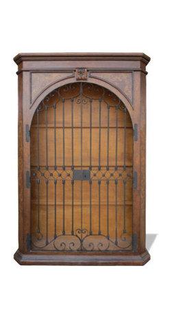 Iron Doors Bookcase, Fresco Brown Distressed with Gold Scrolls - Iron Doors Bookcase, Fresco Brown Distressed with Gold Scrolls