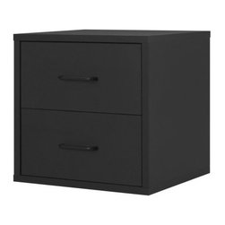 Foremost - Modular 2 Drawer Cube Black - Take care of your storage needs with the 2-drawer cube. Whether you are storing clothes, papers or toys, this 2-drawer storage cube has plenty of room for your belongings. The convenient shape and clean, contemporary design fit well into any room. The exterior features a laminated finish for durability and good looks.