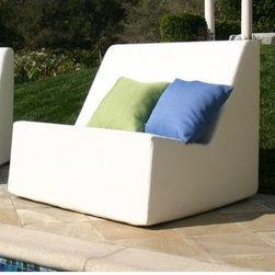 """La-Fete - Check Armless Lounge Chair - Features: -Lounge chair. -All-weather premium yacht vinyl upholstery. -Low profile casual and comfortable seating. -Gang together for infinite bench seating against a wall, back to back, in a circle as room dividers lounges and events. -Dimensions: 32"""" H x 36"""" W x 36"""" D."""