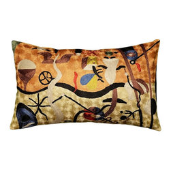 "Modern Silk - Miro Pillow Cover Harlequins Oblong Hand Embroidered 13"" x 21"" - Expertly handcrafted chain-stitch embroidery with a design inspired by the works of modern artist, Joan Miró. The abstract qualities of this piece, as well as the juxtaposition of primary colors and pastels of this decorative cushion cover, create a vibrant point of interest for your décor."