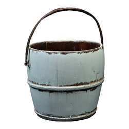 Antique Revival - Aqua Vintage Yavapai Bucket - This vintage, wooden kitchen bucket adds a fun, country touch to your existing decor. The lightly distressed, aqua paint brings in a splash of color, and the iron handle and banding add an old-fashioned vibe. This bucket works great both indoors and outdoors.