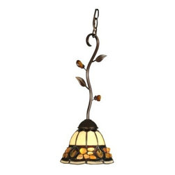 Dale Tiffany Pebblestone Fixture Pendant - TH90229 - The Pebblestone Fixture Pendant adds warm ambiance to any room whether alone or in a grouping. This pendant lamp is made of metal finished in antique golden sand. The Tiffany glass shade has cream panels accented by cream shells and pebbles of brown and amber glass. The shade is suspended from a curved stem that has carved leaves and colorful glass beads.This pendant light fixture measures 7W x 17.25H inches and requires one 60-watt medium base bulb which is not included. It has a simple on and off switch.About Dale TiffanyFounded in 1979 Dale Tiffany Inc. started manufacturing Tiffany-styled lamps and shades emphasizing high-quality reproductions of Louis Comfort Tiffany's famous designs. Today using only the highest quality genuine hand-rolled art glass Dale Tiffany offers an extensive range of designs to create the world's foremost collection of fine art glass lighting and home accents. With this handcrafted process no two pieces are exactly alike making each design a treasured keepsake. Dale Tiffany captures the timelessness of America's classic designers while developing unique designs that blend perfectly with today's home fashion trends and lifestyles.