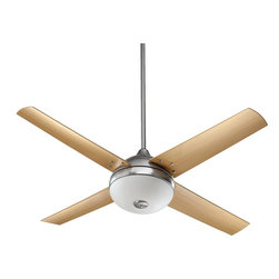 "Quorum Lighting - Quorum Lighting Orbit Patio 52"" Contemporary Outdoor Ceiling Fan X-56-42581 - Four clean-lined blades with subtle curved ends compliments the modern and traditional styling of this Quorum Lighting outdoor ceiling fan. From the Orbit Collection, this contemporary patio fan features an included light kit and comes in multiple finish combinations."