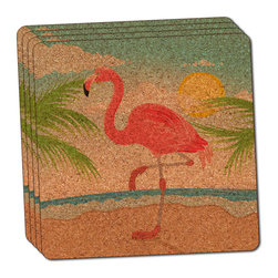 """Made on Terra - Flamingo and Palm Tree Beach Vacation Thin Cork Coaster Set of 4 - You're just cleaning up after your epic party when you realize it... something's different. Unlike all those other times, you're not mopping up cup condensation from your counters and tables. This time, everyone used a coaster. Everyone. Maybe it's because you handed out a coaster with every glass. No. You've tried that before. No, this time it's because of the actual coasters. You found the cutest Made On Terra printed cork coasters. You love that everyone commented on how unique they were,  from the light-weight, thin cork material to the printing that creates a cool and subtle effect. Plus, they're really absorbent, but dry quickly. And they're made from an eco-friendly, sustainable resource, so that makes you feel pretty great, too. Choose from Made on Terra's many fabulous cork coasters. Measures 4"""" x 4"""" x 1/8"""". Made of thin cork. Super cute and nicely absorbent. Sold in sets of four."""