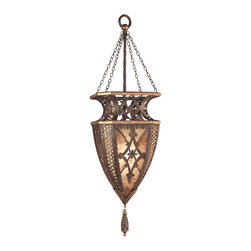 Fine Art Lamps - Villa 1919 Pendant, 155749ST - Dangle some drama over your favorite setting and cast a lush, warm glow. This diamond detail lantern has a rich umber finish with gilded accents and hand-painted mica panels.