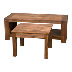 Great Deal Furniture - Lorcan Java Brown Coffee Table and Side Table (Set of 2) - The Lorcan Table set is the perfect accent pieces to complete for any room. The java stained acacia wood table is designed with beauty and functionality in mind. The industrial inspired coffee table will proudly display items on its surface area as well as store blankets, magazines, etc., on the bottom shelf. The matching accent table complements the coffee table in color and style. Suitable for any living space, you will appreciate the look and design of the Lorcan Table Set.