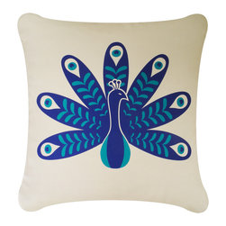 Wabisabi Green - Peacock Eco Pillow, Teal Blue/Cream, With Insert - - Durable recycled polyester-organic cotton blend fabric.