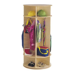 Jonti-Craft - Jonti-Craft Revolving Wooden Standing Coat Rack - 0350JC - Shop for Childrens Lockers from Hayneedle.com! The amazingly convenient and space-saving Revolving Coat Rack makes a great addition to any day care or school. Featuring three levels of storage space with five sections it provides ample space to keep up to ten children's belongings organized. Each spacious section has two double coat hooks to hang little jackets sweaters coats and scarves with upper and lower cubbies to keep hats shoes toys or books. Safely and solidly made from wood with pegboard backing this revolving coat rack uses lead-free non-toxic paints. About Jonti-CraftFamily-owned and operated out of Wabasso Minn. Jonti-Craft is a leading provider of quality furniture for the early learning market. They offer a wide selection of creatively designed products in both wood and laminate materials. Their products are packed with features that make them safe functional and affordable. Jonti-Craft products are built using the strongest construction techniques available to ensure that your furniture purchase will last a lifetime.