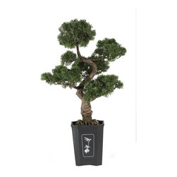 Nearly Natural - Cedar Bonsai 36in. Silk Plant - This mesmerizing three foot tall Cedar bonsai makes a wonderful addition to any home, office, or business decor. Experience the beautifully handcrafted artwork of an authentic looking tree without all the effort. With lush green leaves and a highly detailed trunk, this tree is sure to leave a lasting impression on guests.
