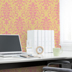 Foliate Damask Stencil - Foliate Damask Wall Stencil from Royal Design Studio Stencils. This hand painted allover pattern livens up this office space but it would also look great in a dining room, bedroom, foyer or powder room. This design works in traditional, modern and Old World decor schemes.