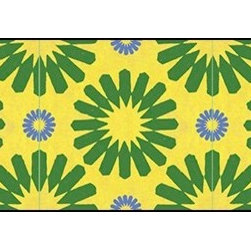 Casart coverings - Spinwheel, Green/Yellow/Blue Wallcoverings, Green/Yellow/Blue, Small Roll (37 Sq - Add some Marrakesh style to your home dcor with this Moroccan-inspired collection of faux tile patterns.