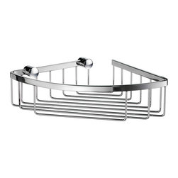 Sideline Collection Open Corner Soap Basket - This sleek corner soap basket is great for adding storage space to organize your bath essentials.  Made of solid brass, the clean lines will accent almost any bathroom decor.