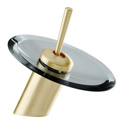 """Renovators Supply - Faucets Antique Brass Brass 7"""" Waterfall Faucet Smoke Disk - Single Hole Waterfall Faucets: Perfect for recessed & above counter sinks. Solid brass construction with a tarnish resistant  Antique Brass finish.  Top rated high quality internal cartridge tested to last  500,000 cycles.  Features a modern solid brass joystick style handle. Comes complete with  supply lines & mounting hardware.  Purchase additional round glass or ceramic disks to change your faucet look! Overall height is 7 inches."""