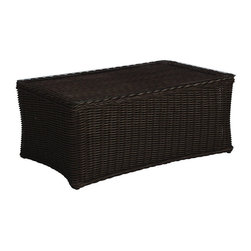 Frontgate - Sedona Outdoor Coffee Table with Glass Top - Ideal for any environment, including oceanfront and saltwater destinations. High-quality resin wicker is specially formulated with high UV resistance to prevent fading. Marine grade aluminum frame is resistant to corrosion. Tabletop finished with tempered glass. Black Walnut or Weathered finish. The Sedona Coffee Table with Glass Top by Summer Classics&reg transforms the look of traditional wicker into modern day style and comfort. The expertly hand woven, thick high-quality all-weather resin wicker is specially treated to withstand intense heat and provide resistance to fading. This innovative material combined with an all aluminum frame creates the perfect outdoor furnishing for any open air setting, including beach and salt water environments. Part of the Sedona by Summer Classics&reg Collection. . . .  . .