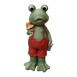 Alpine - Frog Boy in Suspenders Statue - 9 inch - Features:Dimensions: