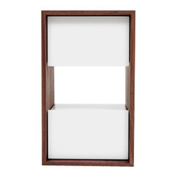 """ARTLESS - THN 1 Night Stand in White - ARTLESS THN 1 is a 14"""" by 14"""" nightstand with a height of 24"""". It took us a while, many years in fact, to develop a tall nightstand. For ARTLESS 24 inches is very high, since we tend to keep things low to the ground. We like the proportions and we like the material and color contrast. The open space acts as a shelf, thus a functional component as well."""