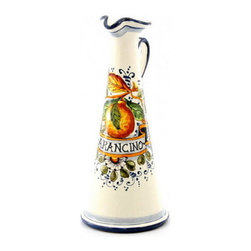 Artistica - Hand Made in Italy - Aranci: Conic Decanter Arancino (Orange Based Mediterranean Liquor) - Aranci Collection: This item is part of our popular Aranci collection which feature oranges and lemons embellished with arabesque leaves and cobalt blue trim by our Italian painter.
