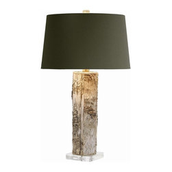 """Arteriors - Fargo Lamp - A natural tree trunk with the bark is mounted on a square acrylic base and topped with a brown microfiber shade lined in silver foil.  Socket Wattage: 150  Switch Location: At Socket  Switch Type: 3-Way Rotary  Cord Color: Clear/Silver  Microfiber shade: 15"""" w x 15"""" d x 9"""" h"""