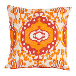 "Jaipur Rugs - Orange/Red color cotton encasa02 poly fill pillow 18""X18"" - En Casa is the design collection of Cuban born, Queens, NY raised painter and surface designer, Luli Sanchez. This collection is based off of her painterly works of art that capture an organic and moody yet optimistic spirit. Her geometric paintings were truly inspiring for this pillow collection."