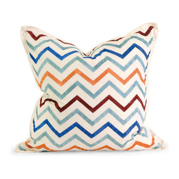 Imax - IK Zola Multi Color Embroidered Pillow with Down Fill Cotton Decor - IK Zola Multi Color Embroidered pillow with down fill cotton decor Imax 42174