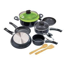 "Epoca - Elements Cookware Set Grey - Cook well and Do Good with this Ecolution Eco-Friendly 12 Pc. Elements aluminum Cookware Set.  Keep cool handles are comfy to grip and stay cool.  Oven safe to 350 degrees F.  Pure aluminum insures consistent heating--even heating equals happy eating.  Non-stick Hydrolon coating is an ecologically advanced water based coating that is made without PFOA for fewer greenhouse gases.  Glass lids let you see what's cooking without letting heat escape.  Dishwasher Safe.  Set includes: 8"" Fry Pan. 9.5"" Fry Pan. 11"" Fry Pan. 1 Qt. Saucepan with glass Lid. 2 Qt. Saucepan with glass Lid. 5 Qt. Dutch Oven with glass Lid.  Collapsible Silicone Steamer. Bamboo Spoon and Bamboo Spatula. Packaging printed on 70% recycled materials"