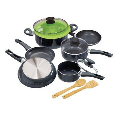 """Epoca - Elements Cookware Set Grey - Cook well and Do Good with this Ecolution Eco-Friendly 12 Pc. Elements aluminum Cookware Set.  Keep cool handles are comfy to grip and stay cool.  Oven safe to 350 degrees F.  Pure aluminum insures consistent heating--even heating equals happy eating.  Non-stick Hydrolon coating is an ecologically advanced water based coating that is made without PFOA for fewer greenhouse gases.  Glass lids let you see what's cooking without letting heat escape.  Dishwasher Safe.  Set includes: 8"""" Fry Pan. 9.5"""" Fry Pan. 11"""" Fry Pan. 1 Qt. Saucepan with glass Lid. 2 Qt. Saucepan with glass Lid. 5 Qt. Dutch Oven with glass Lid.  Collapsible Silicone Steamer. Bamboo Spoon and Bamboo Spatula. Packaging printed on 70% recycled materials"""