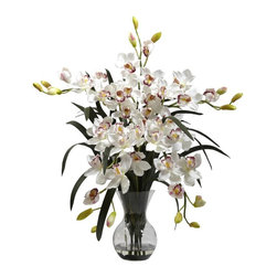 """Large Cymbidium with Vase Arrangement - There's no two ways around it - this Large Cymbidium with Vase is one of our most beautiful reproductions. Standing a full 34"""" high (and 30"""" wide) this Cymbidium makes a bold decorative statement. Yet this proud display is softened by the delicate blooms and soft buds, which reach in every direction. A glass vase (complete with faux water) round out this masterpiece. Height= 34 In. x Width= 30 In. x Depth= 24 In."""