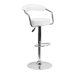 Flash Furniture - Flash Furniture Contemporary White Vinyl Adjustable Height Bar Stool - This dual purpose stool easily adjusts from counter to bar height. This retro style stool with arms will look great around the bar or kitchen. The easy to clean vinyl upholstery is an added bonus when stool is used regularly. The height adjustable swivel seat adjusts from counter to bar height with the handle located below the seat. The chrome footrest supports your feet while also providing a contemporary chic design.