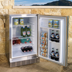 Frontgate - Lynx Outdoor Refrigerator - Stainless steel exterior is suitable for both built-in and freestanding use. Adjustable leveling legs assure perfect positioning on any surface. UL-listed for outdoor use. 4 ft. cord; 120V.. Keep beverages cold, ingredients fresh, and desserts perfectly chilled while you cook outdoors with this Lynx Outdoor Refrigerator. The 3-3/4 cubic foot interior contains three adjustable wire shelves, variable temperature controls, and automatic lighting for after-dark grilling and entertaining. . . . .