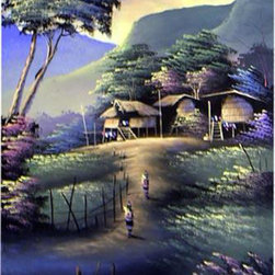 Oriental-Decor - Blissful Day Oriental Painting - In many parts of Asia, the countryside is replete with trees, mountains and beautiful scenery. Here a group of huts is nestled under colorful trees while blue and green mountains make up the background. Hang this beautiful painting in any room to create a pleasant, tranquil feeling.