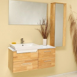 """Fresca - Fresca Caro Solid Oak 36"""" Modern Bathroom Vanity - This solid wood oak ensemble is contemporary and chic in design. Sleek and geometrical, the Fresca Caro bathroom vanity ads a touch of sophistication while maintaining an air of no frills, making it perfect for more nuanced designs. At a width of 36"""" and a height of 19.25"""", this bathroom vanity is perfect for midsized restrooms.The Fresca Caro bathroom vanity offers four 14.75"""" deep drawers for optimal convenience. Additional storage is included with the accompanying 12"""" wide x 39.28"""" high x 8.63"""" deep wall mounted storage cabinet. This modern bathroom vanity is rounded out by the 35.5"""" wide x 19.75"""" high matching mirror to provide a simple yet elegant look.Please note: The Caro no longer comes with the faucet shown in the product photo, but you may choose from any of the faucets in the drop down options to customize your bathroom vanity at no additional cost.Items included: Vanity, Mirror, Sink, 1 Wall Mounted Cabinet, Faucet, P-Trap and Pop-Up Drain, Standard hardware needed for installation.DecorPlanet is proud to offer Fresca Bathroom products. Fresca is a leading manufacturer of high-quality vanities, accessories, toilets, faucets, and everything else to give you the freshest bathroom in the neighborhood. Fresca is known for carrying the latest and most popular styles in modern and contemporary bathroom design that are made with high quality materials and superior workmanship"""