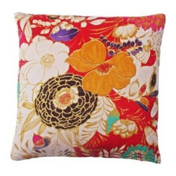 5 Surry Lane - Red Suede Mutli Floral Pillow - Rich in texture, color and brilliant floral pattern, this pillow can't help but brighten any living space. The exuberant palette would also be a great jumping off point for building a collection of complementary pillows on the couch or bed.