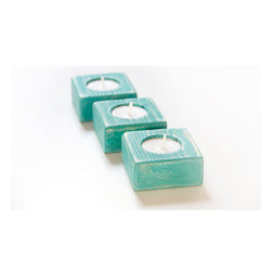 Candle Holders, Shabby Chic Teal by Art Glamour Sligo - I don't own many candleholders, but I like these geometric block ones.