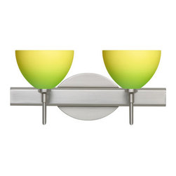 Besa Lighting - Besa Lighting 2SW-4679GY Brella 2 Light Reversible Halogen Bathroom Vanity Light - Brella has a classical bell shape that complements aesthetic, while also built for optimal illumination. Our Green/Yellow Bicolor glass combines muted green and yellow tones onto a pressed glass. This glass is rich with colors that blend and fade into one another. The soft colors have a low key harmonious display that illuminates a warm mood. The smooth satin finish on the clear outer layer is a result of an extensive etching process. This handcrafted glass uses a process where every glass is consistently produced using a press mold, keeping variations to a minimum. The vanity fixture is equipped with decorative lamp holders, removable finials, linear rectangular housing, and a removable low profile oval canopy cover.Features: