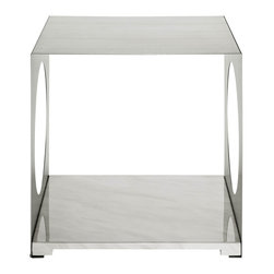 Modway - Surpass Side Table in White - Sometimes the greatest elements, come from the absence of elements. Surpass allows the luminosity of your room to shine in remarkable fashion. The hollowed out stainless steel walls, coupled with two open ends, create a natural interplay between shades of light and gray. The white marble top completes this piece suitable for anyone interested in exploring radiance at its root.