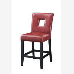 "2 PC 24"" Red Counter Dining Chairs Stools Leather Seat 103619RED - These cool contemporary faux leather bar stools will be a wonderful addition to your casual entertainment and dining room. The bar stools are covered in a variety of colors. Choose from faux leather in either 24"" or 29"" height stools to complement your home decor. Pair with our wide selection of counter height tables from for a harmonious contemporary ensemble in your home."