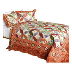 Blancho Bedding - Temptation of an Angel3PC Cotton Contained Patchwork Quilt Set Full/Queen Size - Set includes a quilt and two quilted shams (one in twin set). Shell and fill are 100% cotton. For convenience, all bedding components are machine washable on cold in the gentle cycle and can be dried on low heat and will last you years. Intricate vermicelli quilting provides a rich surface texture. This vermicelli-quilted quilt set will refresh your bedroom decor instantly, create a cozy and inviting atmosphere and is sure to transform the look of your bedroom or guest room. Dimensions: Full/Queen quilt: 90 inches x 98 inches  Standard sham: 20 inches x 26 inches.